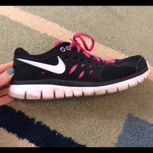 Pink and black Nike sneakers size 9